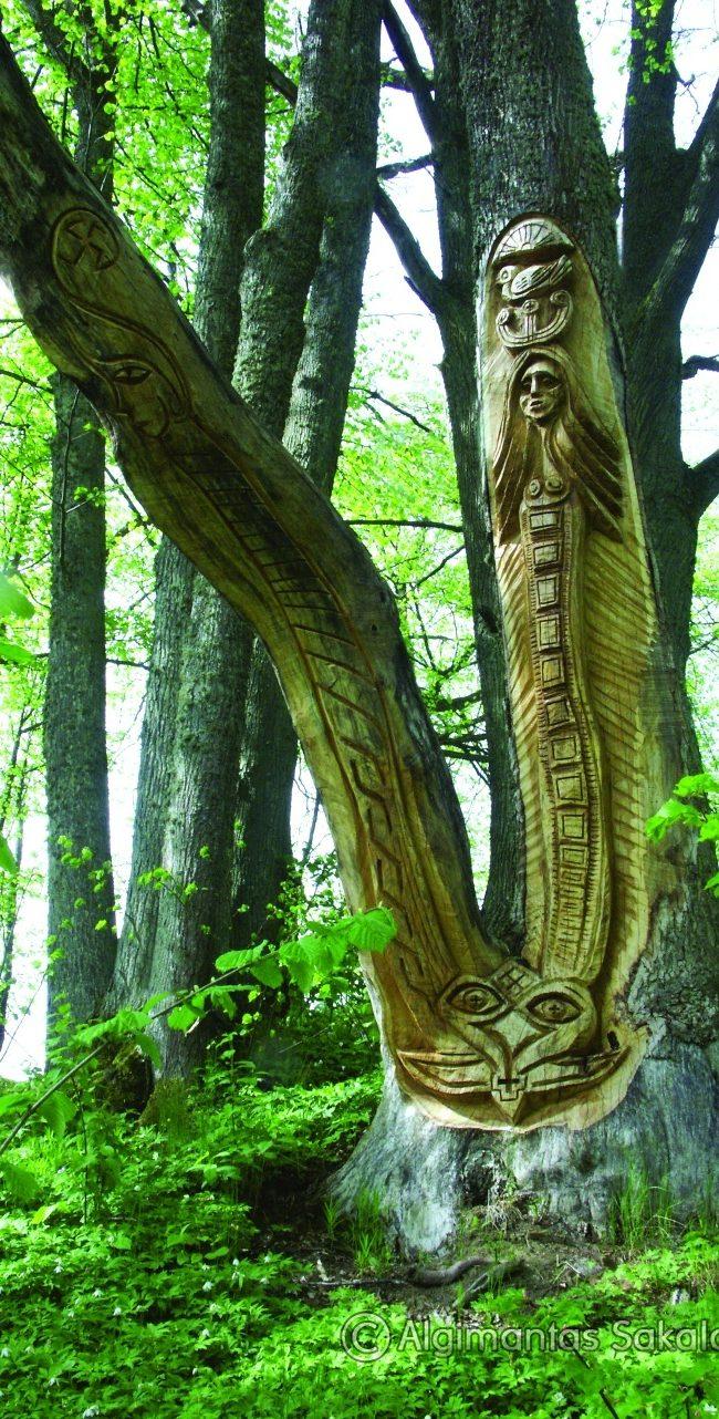 Laima ir Giltinė (parko skulptūra). H=3,7 m, ąžuolas. Ožnugaris, Tauragės raj., 2008 m.