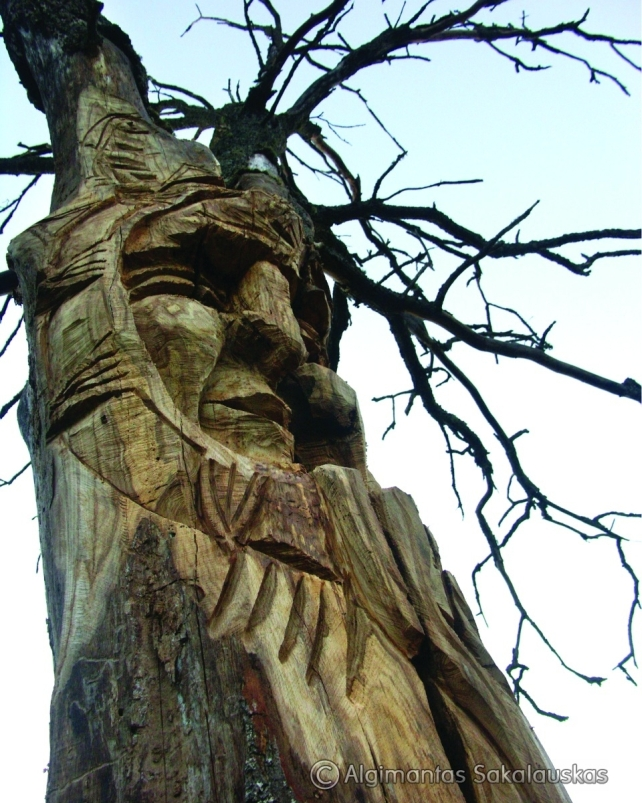 Vėlinas (parko skulptūra). H=3,1 m, ąžuolas. Ožnugaris, Tauragės raj., 2007 m.